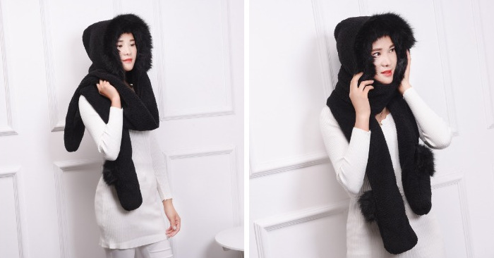 Fashion Women Faux Fur Hood Animal Hat Ear With Long Scarf Wolf Fur Hood Hat With Paws Beanie Cap Winter Cartoon Hat