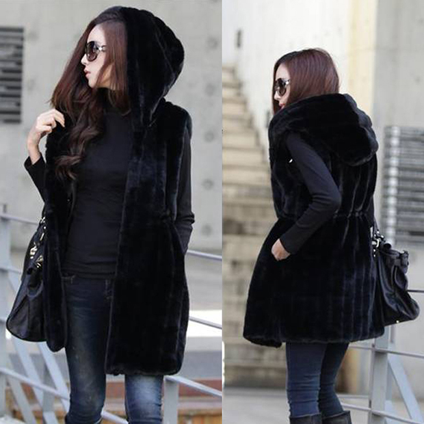 2015 new winter women's clothing, female hooded faux fur vest plush shawl, long casual fashion warm vest, drawstring waist - BEST ON LINE STORE store