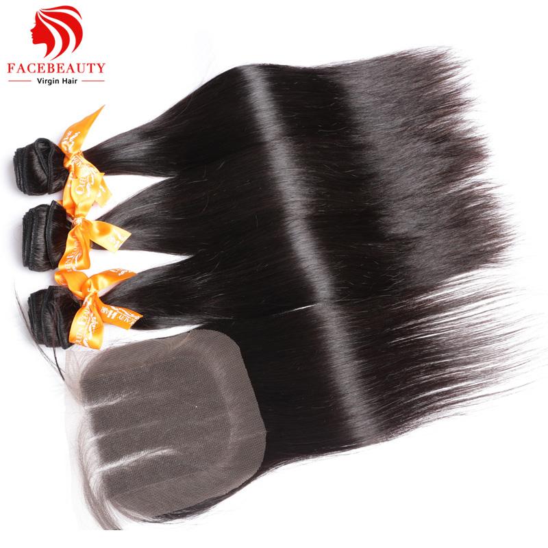 1 PC Lace Closure With Bundles 3PCS Malaysian Virgin Hair Straight,3 part lace closure 4*4 malaysian virgin hair,natural black(China (Mainland))