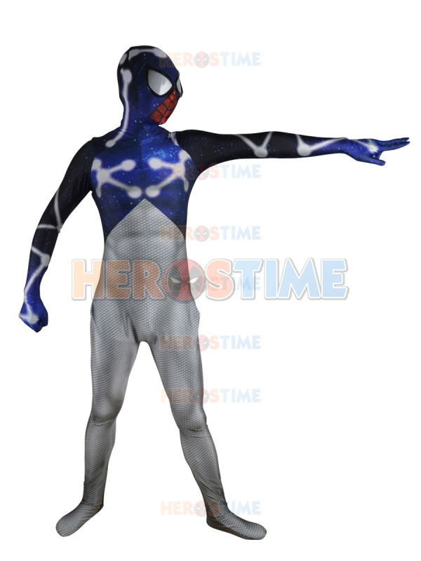 Blue &amp; White Cosmic Spider-Man Superhero Costume Full Body Morph Suit Spandex Zentai Suit Free ShippingОдежда и ак�е��уары<br><br><br>Aliexpress
