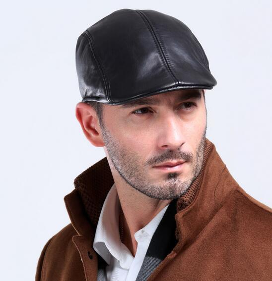 sheepskin leather beret caps