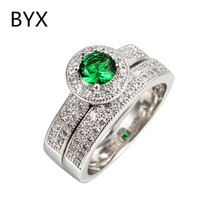 2 Pieces double rings for women green crystal white gold plated bridal sets rings party jewelry bijoux bague accessories BYX090