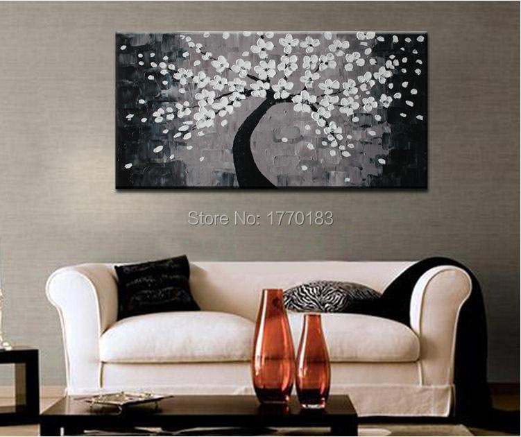 Free shipping black gray oil painting on canvas handpainted grey tree painting single modern Home Wall Art Decor PICTURE(China (Mainland))