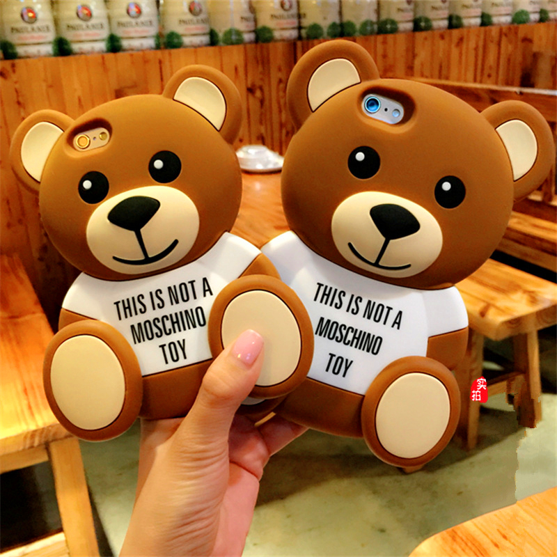 New 3D Cute Cartoon Teddy Bear Soft Silicone Case Back <font><b>Cover</b></font> Shells For <font><b>iPhone</b></font> 4/4s/<font><b>5</b></font>/5s/6/6s/6 Plus/6s Plus Mobile Phone Cases