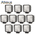 10pcs 4 5Inch 48W 16X 3W Square LED Work Light 12V Spot Flood For 4x4 Offroad