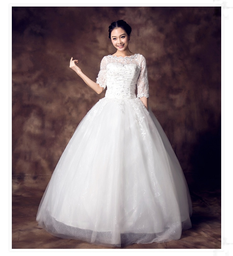 2014 Sexy Lace Half Sleeve Vintage Wedding Dresses Handmade Beading Diamond Decoration Ivory Cheap Bridal Gowns Formal Gown(China (Mainland))
