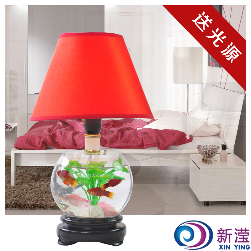 Glass fish tank decoration lamp table lamp living room lights bedside table lamp modern table - Decorative fish tanks for living rooms ...