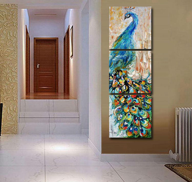 3 pieces wall art Peacock painting wall art print painting Home decoration pictures print on canvas framed art T/863(China (Mainland))