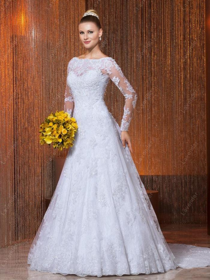 Wedding Dresses 2015 estido de noiva Vintage Perfect Bridal Gown church 2015 Long Sleeve Sweetheart china online store(China (Mainland))
