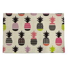 pineapple  pattern print linen placemat coasters disc pads bowl pad pot dining table mat coster heat insulation pad(China (Mainland))