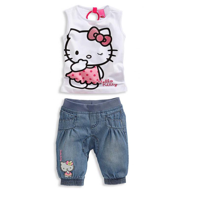 Top Free Shiping 2015 Baby Girls Summer Sets Cotton Hello Kitty Girl's Clothing Set Denim Kids Suit T shirt +Denim Short(China (Mainland))