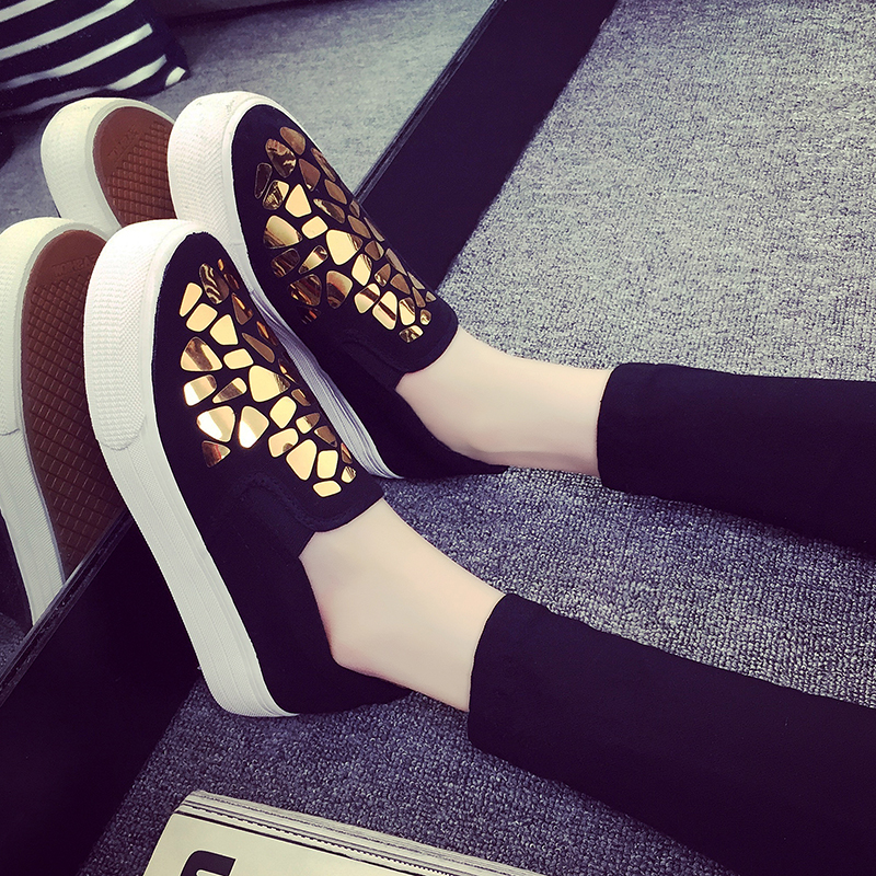 2016 New Arrival Women Thick Soled Canvas Shoes Woman Sequin Shinning Platform Flats Loafers Ladies Creepers Zapatos Mujer<br><br>Aliexpress
