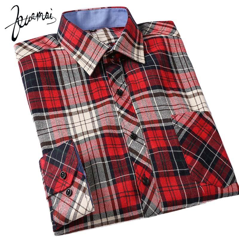 KUAMAI 2016 New Men Shirt Casual Fashion Brand Clothing Thick Warm Plaid Shirt Slim Men Flannel Cotton Camisa Masculina XXXL(China (Mainland))