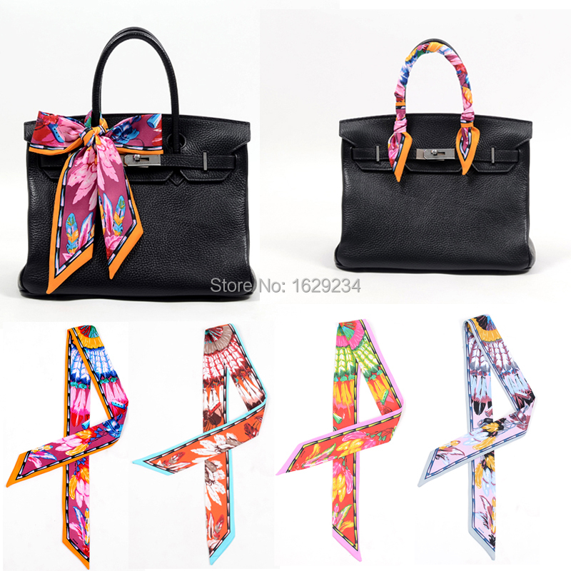 2015 Wholesale High Quality Lady Silk Cotton Twilly Scarf Bags Handle Echarpes Printed Scarves Small Ribbon Hair Band Bandeaus(China (Mainland))