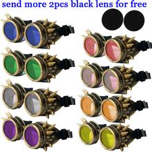 Gothic Steampunk Hot Unisex Cool New Men Women Welding Goggles  Cosplay Antique Spikes Vintage Victorian Glasses Eyewear Cheap