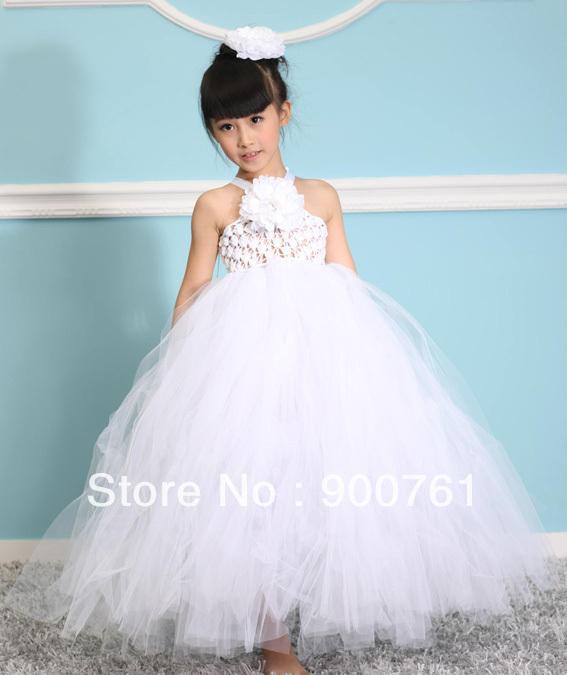 2015 2-8Y white halter tutu Pageant Birthday Party Prom Toddler Children Kids Flower Girl Dresses For Wedding(China (Mainland))