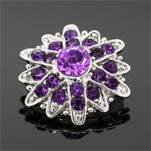 18mm Snap Buttons Jewelry 5Pcs/lot Mix Colors Purple Rhinestone Flower Metal Snap Jewelry fit Snap Bracelet NZ047(China (Mainland))