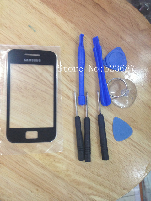 Free Shipping Black 100% Quality good Original Outer LCD Touch Screen Lens Top Glass For Samsung ACE S5830+Free tools