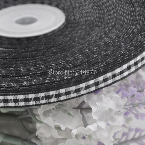 2 8 6mm Black font b tartan b font plaid ribbon bows appliques craft sewing doll