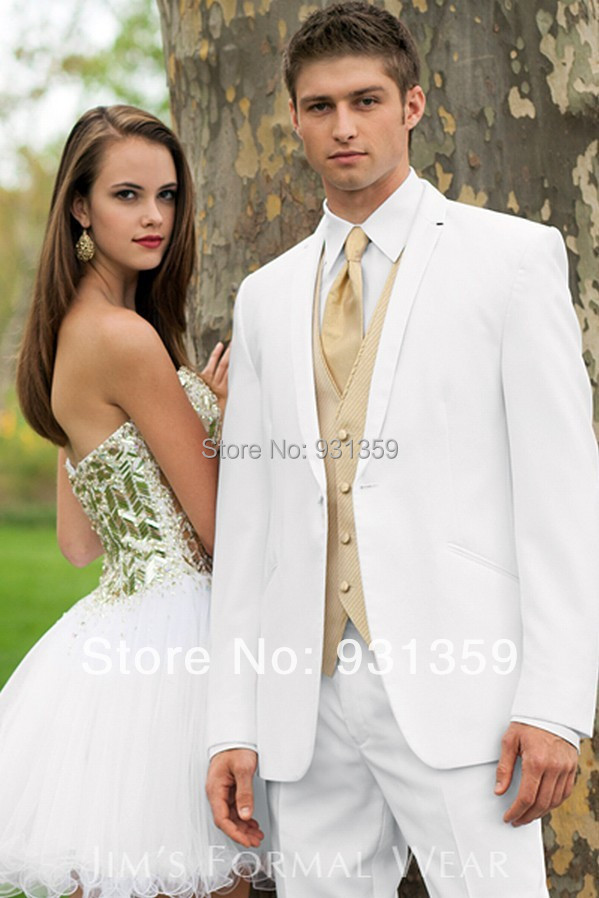Gold And White Prom Suits Dress Yy