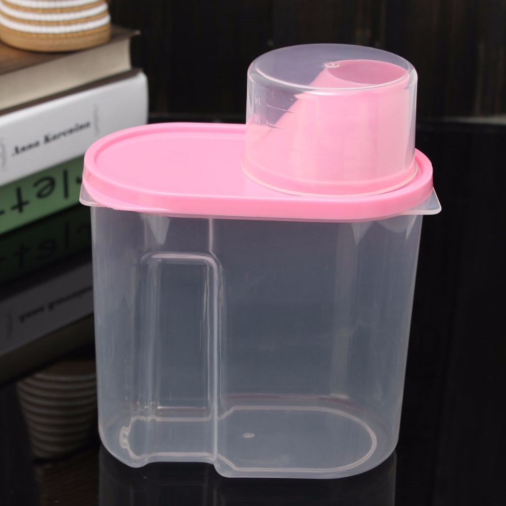 Pink 1.9L Plastic Kitchen Food Cereal Grain Bean Rice Storage Container Box Case Brand New(China (Mainland))