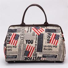 Women Waterproof Nylon Travel Bag Newspaper/Floral/Flag/Bear/Strip/Dots/Character Printing Large Hand Luggage 30x43x19 cm(China (Mainland))