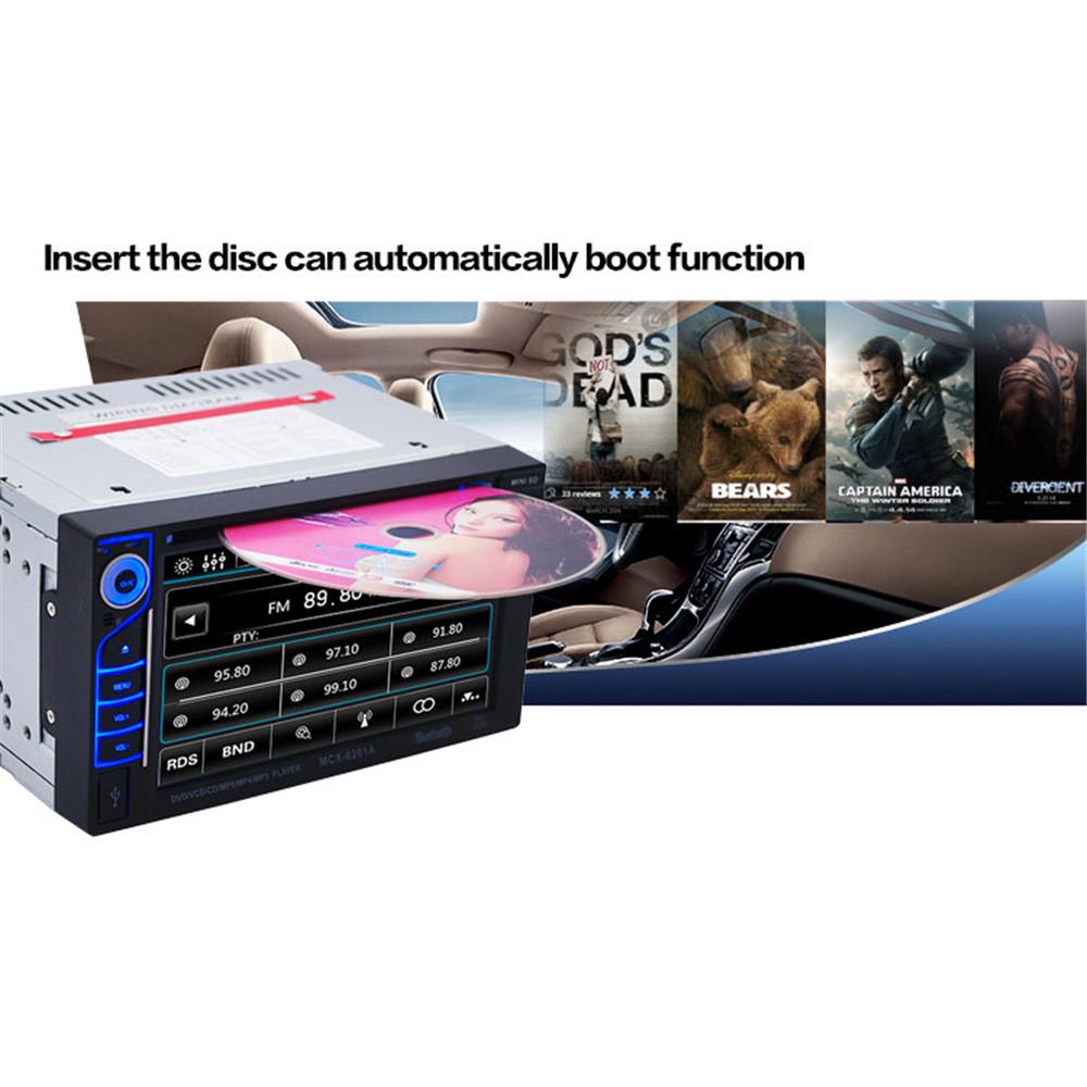 Фотография 12V 6.2 Inch 6201A Audio DVD SB / SD Bluetooth 2-Din Car CD Player + E306 18mm Color Camera support for  MP3 / WMA / OGG / APE