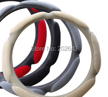GV free shipping sandwich leather steering wheels cover 38CM size black/red car steering wheel sport wheels hub momo(China (Mainland))
