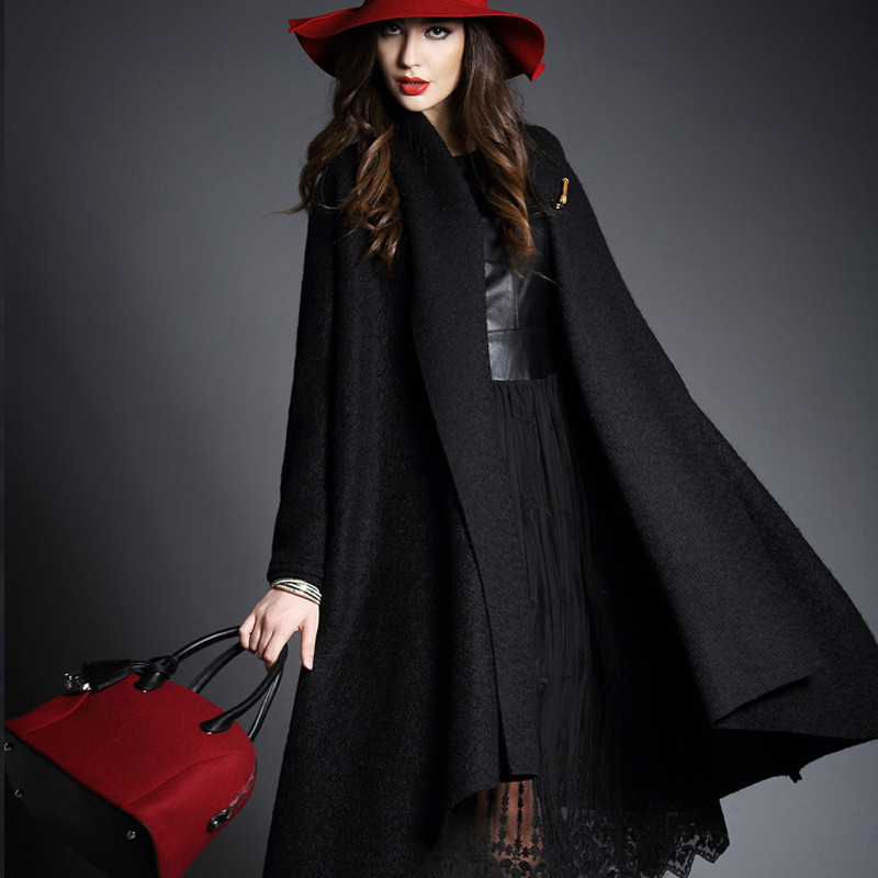 Europ Style High-grade Cardigan Woolen cloth Coat Winter Fashion Women Cape Coat Elegant Slim Pure color Medium long Coat G2402Одежда и ак�е��уары<br><br><br>Aliexpress