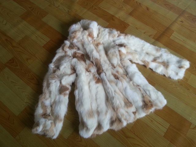 Подлинная кроличий мех пальто с воротником длинная кроличий мех куртка женщины зима ...