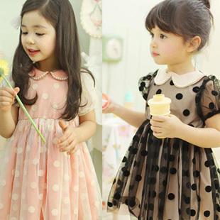 2013 summer female child short-sleeve dot gauze pearl bordered one-piece dress skirt