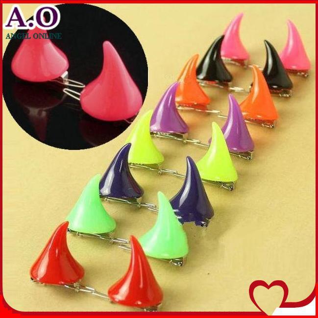 24pcs=12pairs devil horns hairpin 15 neon colors angle Harajuku cute exaggerated hair clip bobby pins - Excell Q. store