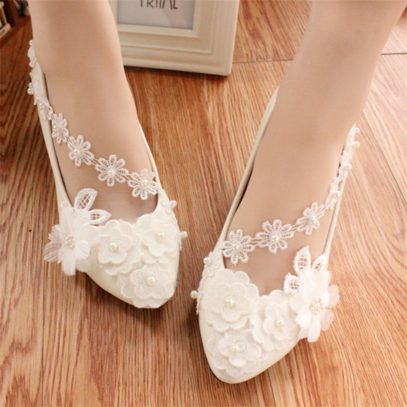 Full sizes girls bridesmaid ivory white lace wedding flats for Flat dress sandals for weddings