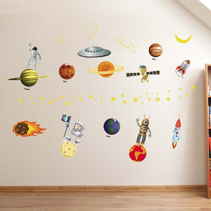 Solar System wall stickers for kids rooms Stars outer space sky wall decals planets Earth Sun Saturn Mars poster Mural QT-155(China (Mainland))