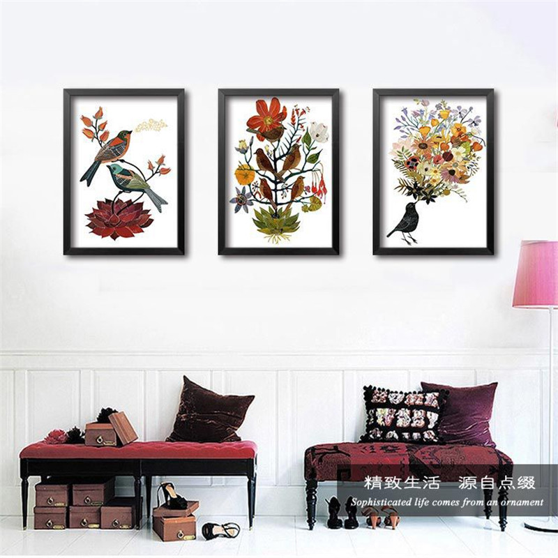 10pcs/lot Simple decorative painting flowers birds Painting Poster, Wall Picture for Home Decoration, Wall Decor DP0006(China (Mainland))