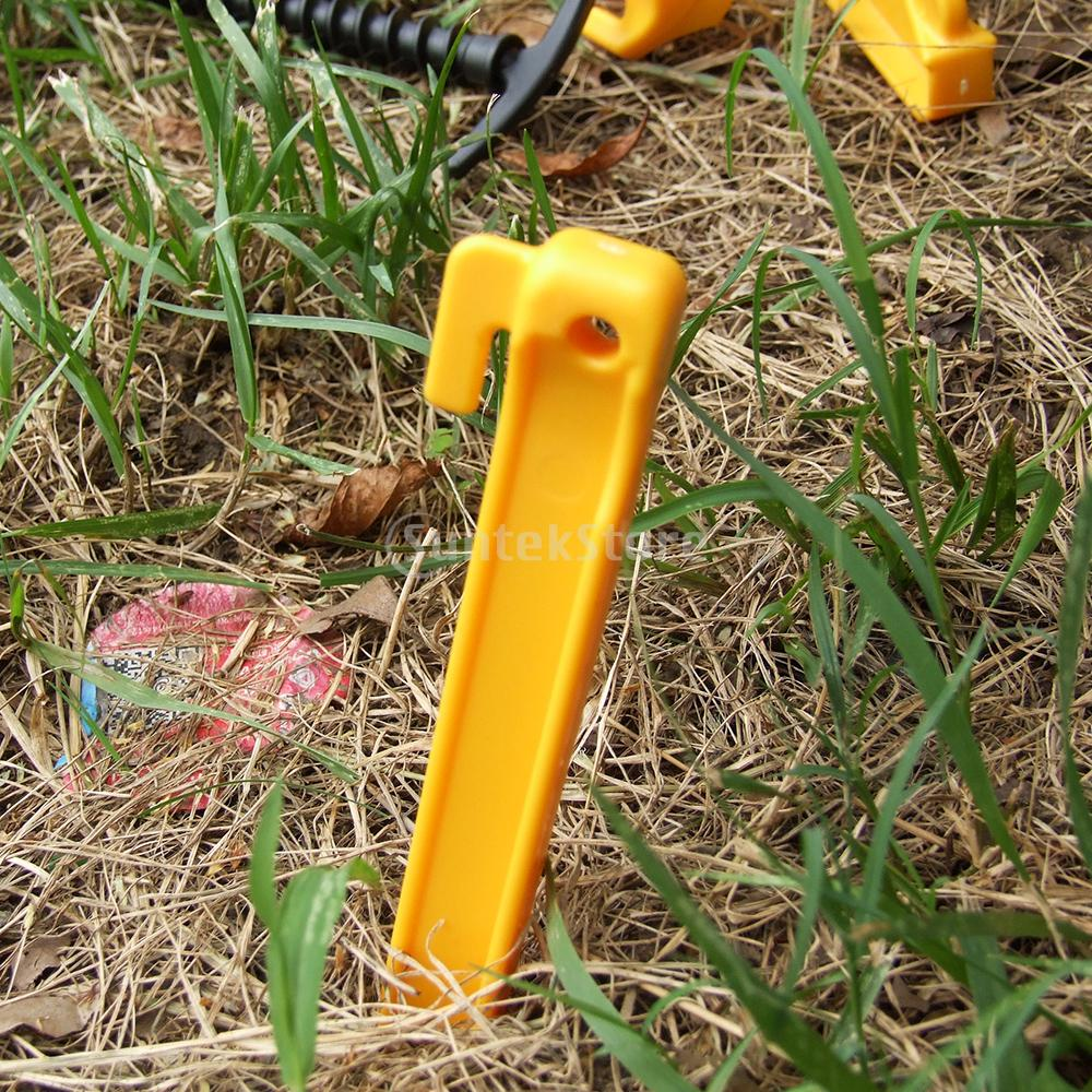 30.5cm Plastic Endurable Camping Awning Tent Stakes Pegs Pins 5pcs Yellow(China (Mainland))