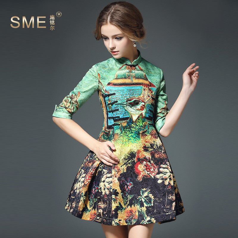 Vintage Dress Summer European New Fashion Brand Runway High Quality Florall Print Slim Desigual Dress jacquard printed dressОдежда и ак�е��уары<br><br><br>Aliexpress