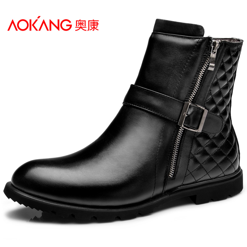 Aokang 2016 Winter men boots Genuine leather boots warm snow boots motorcycle boots free shipping(China (Mainland))