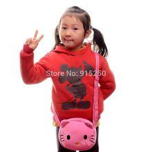 "Hot Pink Hello Kitty Cat Plush One Single Messenger Round Handbag Bag 7*7"" New Free Shipping"