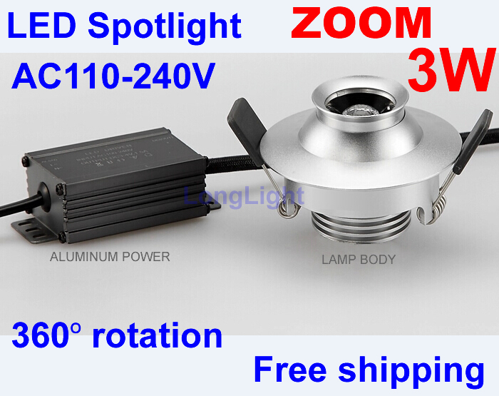 Zoom led spot light 360 degree rotation,3W AC110-240V,Display cabinets led lighting,Bathroom light,Spot led,3000K-6000K,CE RoHS(China (Mainland))