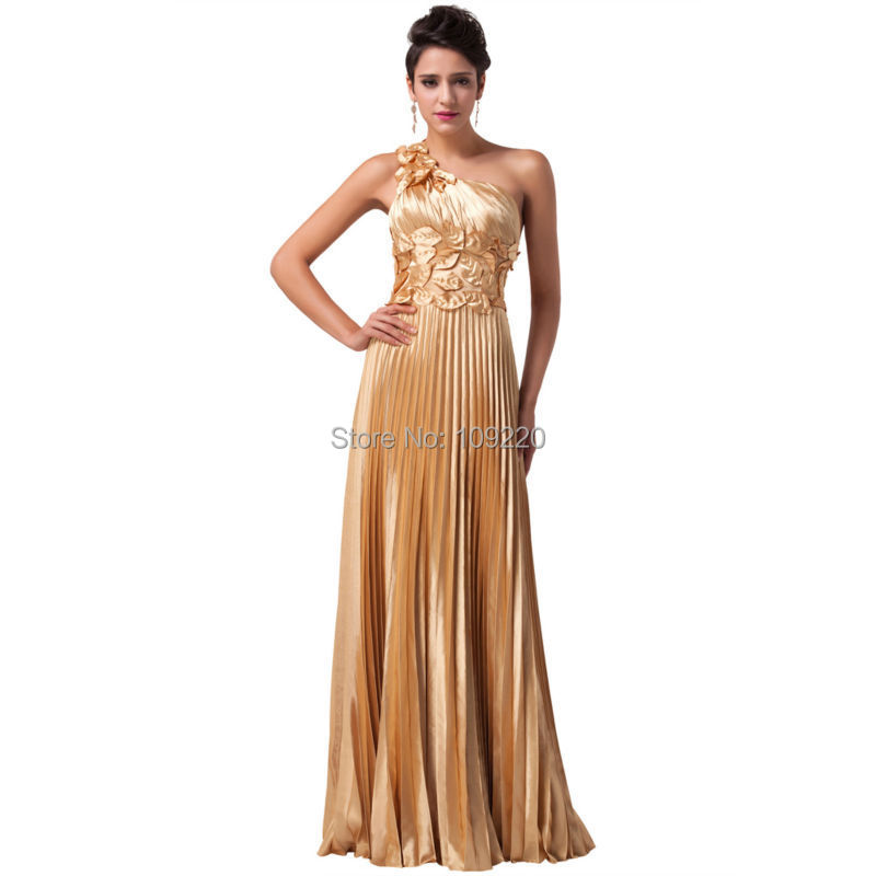 2015 plus size New Grace Karin Gold Satin One Shoulder Bandage Long Formal Evening Gowns Cheap Prom Celebrity Party Dresses 6033 - Angel Shadow store