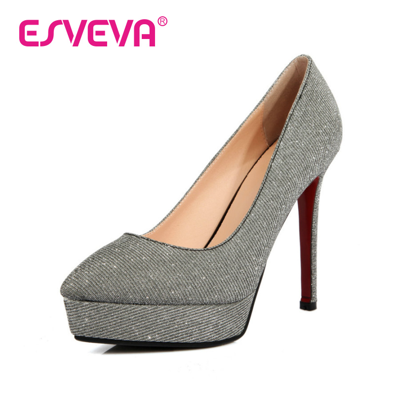 ESVEVA Size 34-39 Pointed Toe Thin High Heel Woman Pumps Party Ladies shoes Slip on Wedding Shoe Spring Sexy Women Platform Shoe(China (Mainland))