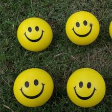 Dia 6.3 cm novetly spremere palle polso della mano esercizio palla antistress palla pu gomma toy balls smile face print palla antistress  (China (Mainland))