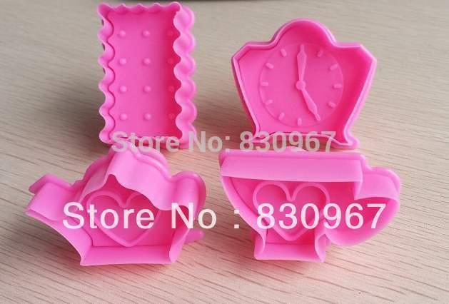 Free shipping 4pcs/set pot,clock,cup DIY cookie cake fruit cutters biscuit cake paste mold sugar candy mould 020113(China (Mainland))