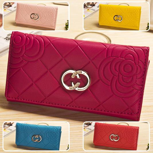 6 colors Brief Rose Flower Pattern Women 2014 Fashion Wallet with Metal Long Purse Money Clip Carteira Feminina Freeshipping(China (Mainland))