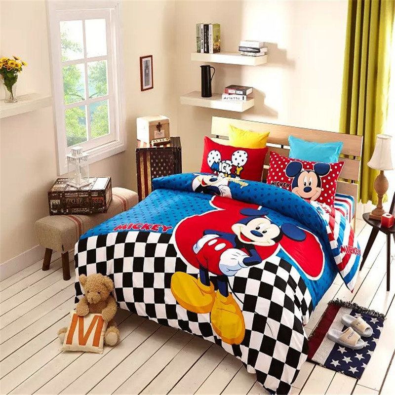 Colorful Mickey Mouse Bedding Sets Checked Comforter Sale Luxury Bedding Sets Twin Queen Size Wholesale(China (Mainland))