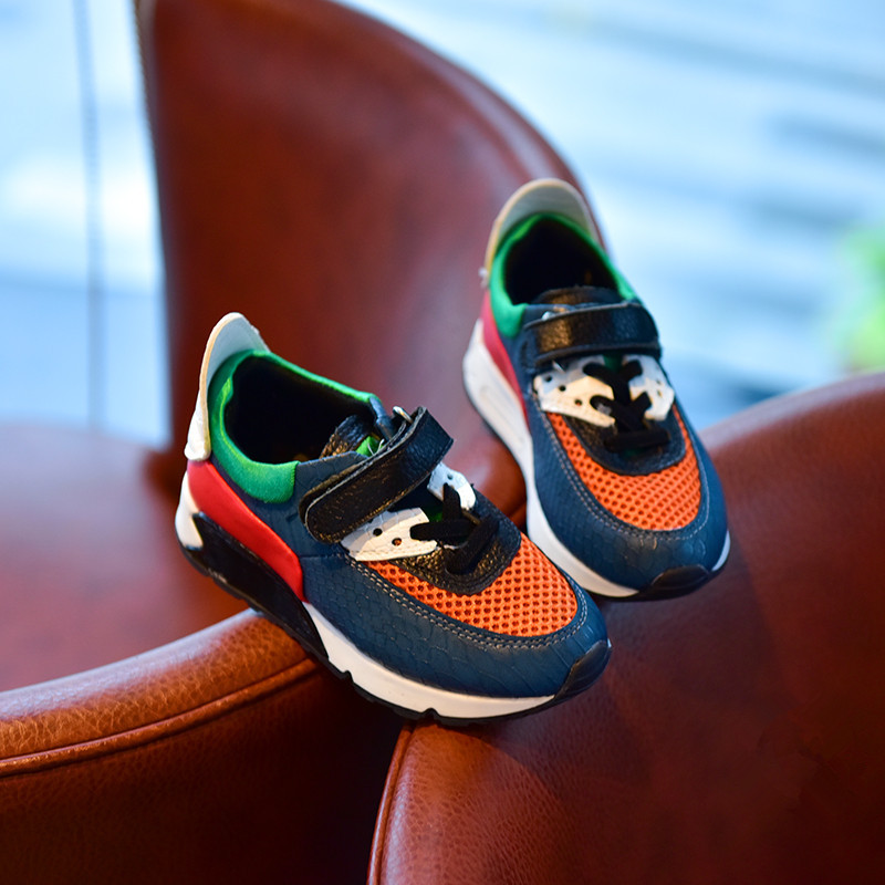 Children spell color sports shoes 2016 autumn new boys and girls children's casual shoes breathable mesh running shoes student(China (Mainland))
