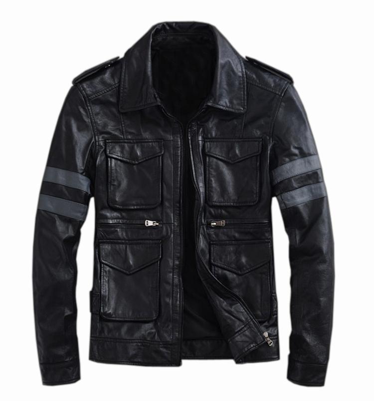 TM201209005 Resident Evil classic explosion THOOO Gentlemen PU Leather Jacket Coat Motorcycle leon M L XL 2XL 3XL 4XL 5XL(China (Mainland))