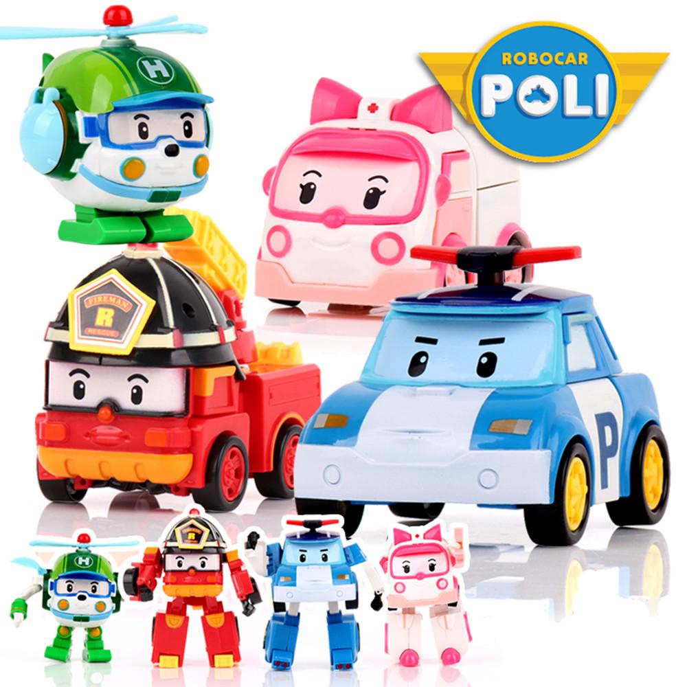 Kids Toys Robocar Poli Toy Korea Robot Anime Action Toy Figures Transformation Toys For Children 4pcs/Set(China (Mainland))