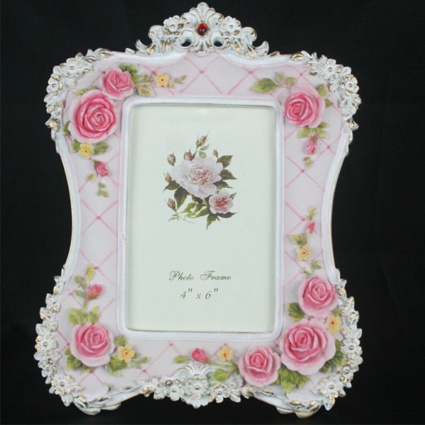 Retro Vintage Pink Rose Flower Home Decor Photo Frame Picture Frame Resin 4''*6''(China (Mainland))